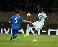 Kalidou Koulibaly  during the  italian serie a soccer match,between SSC Napoli and Juventus       at  the San  Paolo   stadium in Naples  Italy , April 02, 2017