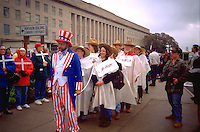Uncle Sam age 43 leading School of the Americas Protest 4/28/97.  Washington DC USA
