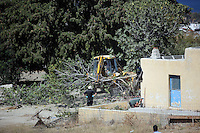 Pictured: A digger is used to bring down the fig tree from the rera of the farmhouse where Ben Needham disappeared from in Kos, Greece. Wednesday 05 October 2016<br />