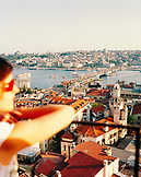 TURKEY, Istanbul, high angle view of city with galata tower and galata bridge