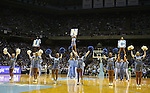 """13 October 2006: UNC's cheerleaders entertain the crowd before the start of the Blue/White scrimmage. The University of North Carolina at Chapel Hill Tarheels held their first Men's and Women's basketball practices of the season as part of """"Late Night with Roy Williams"""" at the Dean E. Smith Center in Chapel Hill, North Carolina."""