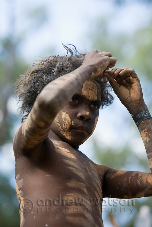 Indigenous boy at the Laura Aboriginal Dance Festival.  Laura, Queensland, Australia