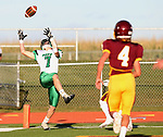 HARRISBURG, SD - SEPTEMBER 26: Garrett Stout #7 from Pierre tries to haul in a touchdown pass against Harrisburg in the second half of their postponed game Tuesday evening in Harrisburg. (Photo by Dave Eggen/Inertia)