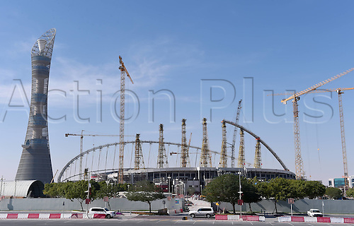 21.12.2014 Doha Qatar.  FIFA World Cup 2022 preparation shows an exterior view of the bulding site of the Khalifa Stadium which is being built for the upcoming FIFA World Cup 2022