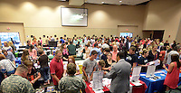 NWA Democrat-Gazette/BEN GOFF @NWABENGOFF<br /> Benton County students and their families talk with college representatives on Monday Sept. 14, 2015 during the annual Benton County College Fair hosted by Northwest Arkansas Community College in Bentonville. Representatives from colleges in Arkansas and surrounding states, as well as the armed services, attended the event for Benton County high school students considering their higher education options.