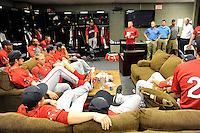 First-year manager Darren Fenster (center) of the Greenville Drive talks to his team in the clubhouse on the team's Media Day first workout on Tuesday, April 1, 2014, at Fluor Field at the West End in Greenville, South Carolina. (Tom Priddy/Four Seam Images)