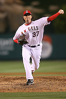 06/08/11 Anaheim, CA: Los Angeles Angels relief pitcher Scott Downs #37 during an MLB game between the Tampa Bay Rays and The Los Angeles Angels  played at Angel Stadium. The Rays defeated the Angels 4-3 in 10 innings
