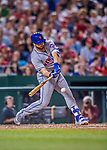 28 April 2017: New York Mets catcher Kevin Plawecki connects for a pinch-hit RBI single in the 8th inning against the Washington Nationals at Nationals Park in Washington, DC. The Mets defeated the Nationals 7-5 to take the first game of their 3-game weekend series. Mandatory Credit: Ed Wolfstein Photo *** RAW (NEF) Image File Available ***