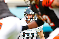 October 09, 2011:   Jacksonville Jaguars middle linebacker Paul Posluszny (51) looks over the action during the game between the Jacksonville Jaguars and the Cincinnati Bengals played at EverBank Field in Jacksonville, Florida.  ........