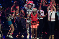 Nile Rodgers & Chic are joined on stage by disco dancers during the Ryder Cup Gala Concert 2014 at SSE Hydro on Wednesday 24th September 2014.<br /> Picture:  Thos Caffrey / www.golffile.ie