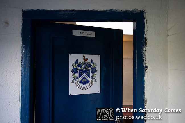 Nelson 3 Daisy Hill 6, 12/10/2019. Victoria Park, North West Counties League, First Division North. The interior of the changing rooms, pictured before Nelson hosted Daisy Hill at Victoria Park. Founded in 1881, the home club were members of the Football League from 1921-31 and has played at their current ground, known as Little Wembley, since 1971. The visitors won this fixture 6-3, watched by an attendance of 78. Photo by Colin McPherson.
