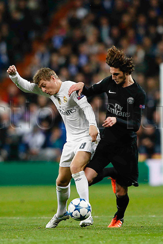 03.11.2015. Madrid, Spain.  Toi Kroos (8) Real Madrid  during the soccer match UCL Champions League between Real Madrid and PSG at the Santiago Bernabeu stadium in Madrid, Spain, November 3, 2015.