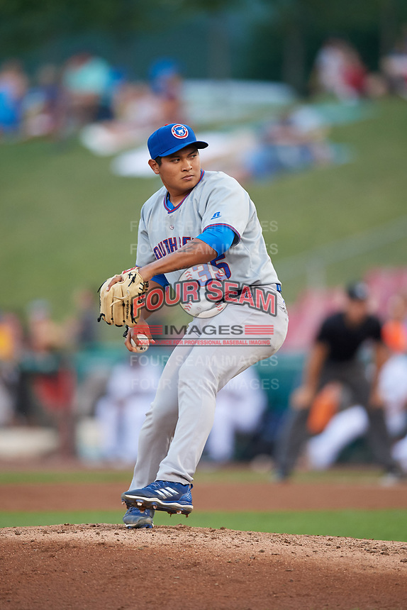 South Bend Cubs relief pitcher Manuel Rodriguez (35) delivers a pitch during a game against the Kane County Cougars on July 23, 2018 at Northwestern Medicine Field in Geneva, Illinois.  Kane County defeated South Bend 8-5.  (Mike Janes/Four Seam Images)