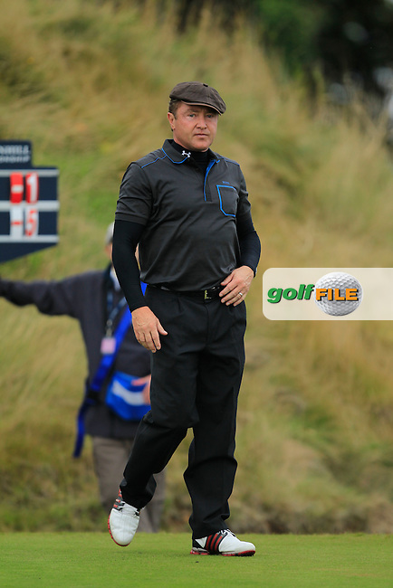 Michael Flatley during Round 2 of the Alfred Dunhill Links Championship at Kingsbarns Golf Club on Friday 27th September 2013.<br /> Picture:  Thos Caffrey / www.golffile.ie