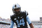 23 November 2013: UNC's Quinshad Davis mugs for the camera after scoring a touchdown. The University of North Carolina Tar Heels played the Old Dominion University Monarchs at Keenan Stadium in Chapel Hill, NC in a 2013 NCAA Division I Football game. UNC won the game 80-20.