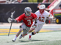 College Park, MD - April 22, 2018: Ohio State Buckeyes JT Bugliosi (3) runs pass Maryland Terrapins Curtis Corley (42) during game between Ohio St. and Maryland at  Capital One Field at Maryland Stadium in College Park, MD.  (Photo by Elliott Brown/Media Images International)