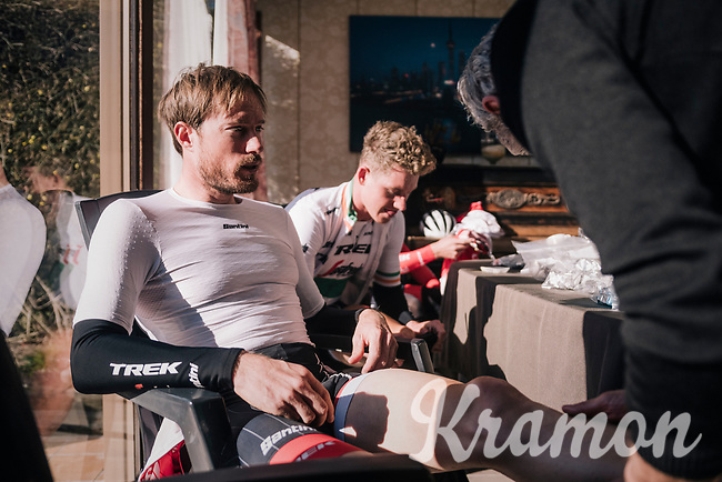 Gregory Rast (SUI/Trek-Segafredo) & teammates getting ready for an ice cold day on the bike in somebody's house near the start<br /> <br /> 70th Kuurne-Brussel-Kuurne 2018<br /> Kuurne › Kuurne: 200km (BELGIUM)