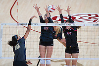 STANFORD, CA - September 9, 2016: Merete Lutz, Audriana Fitzmorris at Maples Pavilion. The Purdue Boilermakers defeated the Stanford Cardinal 3 - 2.