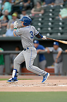 Left fielder Eric Cole (3) of the Lexington Legends bats in a game against Columbia Fireflies on Friday, May 3, 2019, at Segra Park in Columbia, South Carolina. Lexington won, 5-2. (Tom Priddy/Four Seam Images)