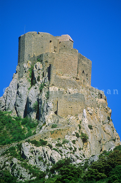 Castle of Queribus atop rock near Pyrenees in Aude Departement, Languedoc, Southwestern France, AGPix_0202.