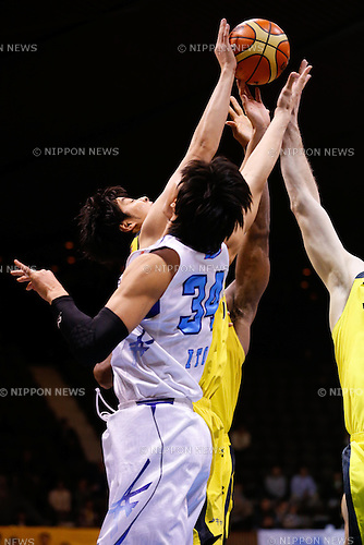 Detailed shot, <br /> FEBRUARY 14, 2015 - Basketball : <br /> National Basketball League &quot;NBL&quot; 2014-2015 <br /> between Hitachi Sunrockers Tokyo 97-88 Mitsubishi Electric Diamond Dolphins <br /> at 2nd Yoyogi Gymnasium, Tokyo, Japan. <br /> (Photo by AFLO SPORT) [1205]
