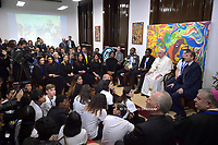 "Pope Francis  during the official inauguration of the new "" Pontifical Scholas Occurrentes "", in Rome, on December 13, 2019."