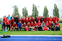 Players of Wales Women interacts with Wales Homeless squad and school children during the Wales Women post training session at the Cardiff International Sports Stadium in Cardiff, Wales, UK. Monday 03 June 2019