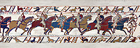 11th Century Medieval Bayeux Tapestry - Scene 51 William encourages his cavalry into battle. Battle of Hastings 1066.