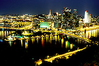 Pittsburgh, skyline, PA, Pennsylvania, Aerial reflection of the downtown skyline of Pittsburgh in the Monongahela River at night.
