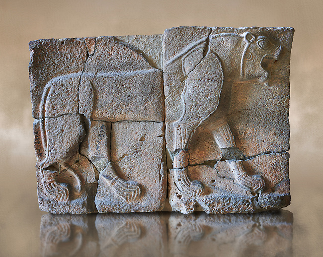 10th - 8th century BC stone Neo-Hittite/ Aramaean Orthostats from the city of Sam'al (Hittite: Yadiya) near Zincirli Höyük in the Anti-Taurus Mountains of modern Turkey. The Orthostats are in a Neo Hittite style and depict mythical animals and figures that have magical properties. Pergamon Museum, Berlin