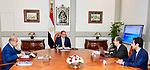 Egyptian President Abdel Fattah al-Sisi meets with Sharif Ismail, Prime Minister in Cairo, Egypt, on May 19, 2018. Photo by Egyptian President Office