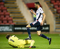 Bolton Wanderers' Will Buckley puts Crewe Alexandra's Ben Garratt under pressure<br /> <br /> Photographer Andrew Kearns/CameraSport<br /> <br /> The Carabao Cup - Crewe Alexandra v Bolton Wanderers - Wednesday 9th August 2017 - Alexandra Stadium - Crewe<br />  <br /> World Copyright &copy; 2017 CameraSport. All rights reserved. 43 Linden Ave. Countesthorpe. Leicester. England. LE8 5PG - Tel: +44 (0) 116 277 4147 - admin@camerasport.com - www.camerasport.com