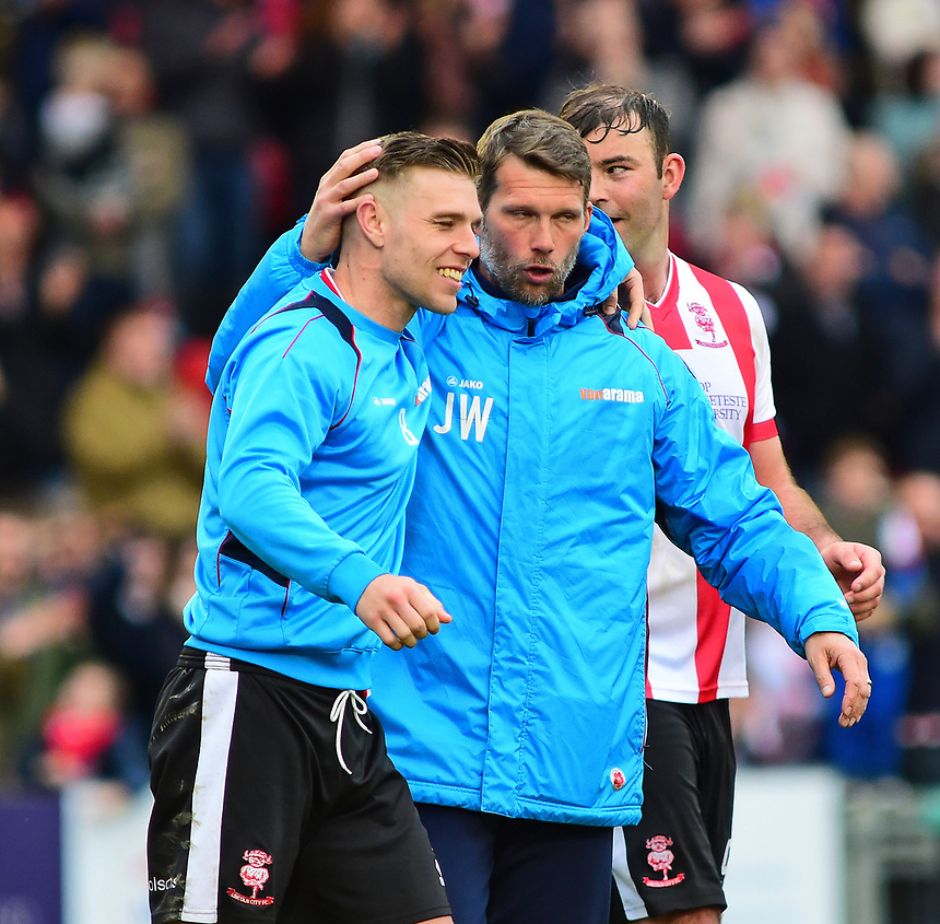 Lincoln City's goalkeeping coach Jimmy Walker congratulates Jack Muldoon at the end of the match<br /> <br /> Photographer Andrew Vaughan/CameraSport<br /> <br /> Vanarama National League - Lincoln City v Torquay United - Friday 14th April 2016  - Sincil Bank - Lincoln<br /> <br /> World Copyright &copy; 2017 CameraSport. All rights reserved. 43 Linden Ave. Countesthorpe. Leicester. England. LE8 5PG - Tel: +44 (0) 116 277 4147 - admin@camerasport.com - www.camerasport.com