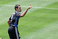 20 June 2009: Pablo Campos of the Earthquakes celebrates after scoring a penalty kick goal during the first half of the game against the Galaxy at Oakland-Alameda County Coliseum in Oakland, California.   Earthquakes defeated Galaxy at 2-1.