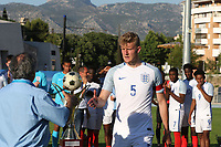 England captain, Joe Worrall walks forward to collect the Winners Trophy during England Under-18 vs Ivory Coast Under-20, Toulon Tournament Final Football at Stade de Lattre-de-Tassigny on 10th June 2017