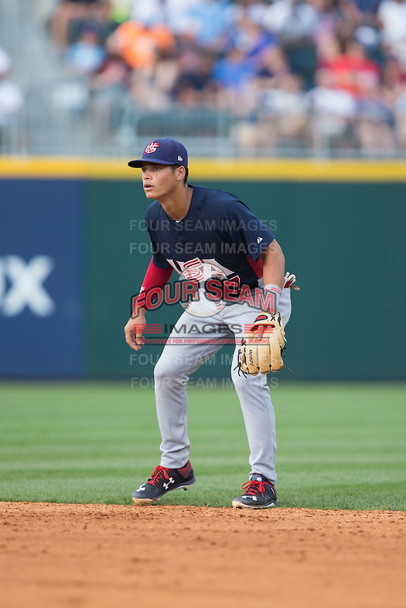 US Collegiate National Team second baseman Bryson Brigman (7) on defense against the Cuban National Team at BB&T BallPark on July 4, 2015 in Charlotte, North Carolina.  The United State Collegiate National Team defeated the Cuban National Team 11-1.  (Brian Westerholt/Four Seam Images)