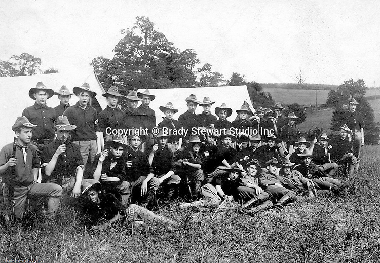 Gettysburg PA: View of the McKeesport Boy's Brigade posing for a photograph while camping at Gettysburg. Brady Stewart was in Gettysburg with the Pittsburgh-area Boy's Brigade. They were in Gettysburg for 40th anniversary of the battle of Gettysburg. The Boy's Brigade was a church-based youth organization started in the late 1800s in Scotland - 1903