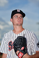 Birmingham Barons pitcher Jimmy Lambert (12) poses for a photo before a Southern League game against the Chattanooga Lookouts on May 1, 2019 at Regions Field in Birmingham, Alabama.  Chattanooga defeated Birmingham 5-0.  (Mike Janes/Four Seam Images)