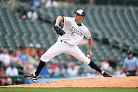NW Arkansas Naturals pitcher Sam Selman (17) delivers a pitch during a game against the Corpus Christi Hooks on May 26, 2014 at Arvest Ballpark in Springdale, Arkansas.  NW Arkansas defeated Corpus Christi 5-3.  (Mike Janes/Four Seam Images)
