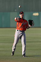 Cody Brickhouse (7) of the AZL Giants throws before a game against the AZL Angels at Tempe Diablo Stadium on July 6, 2015 in Tempe, Arizona. Angels defeated the Giants, 3-1. (Larry Goren/Four Seam Images)