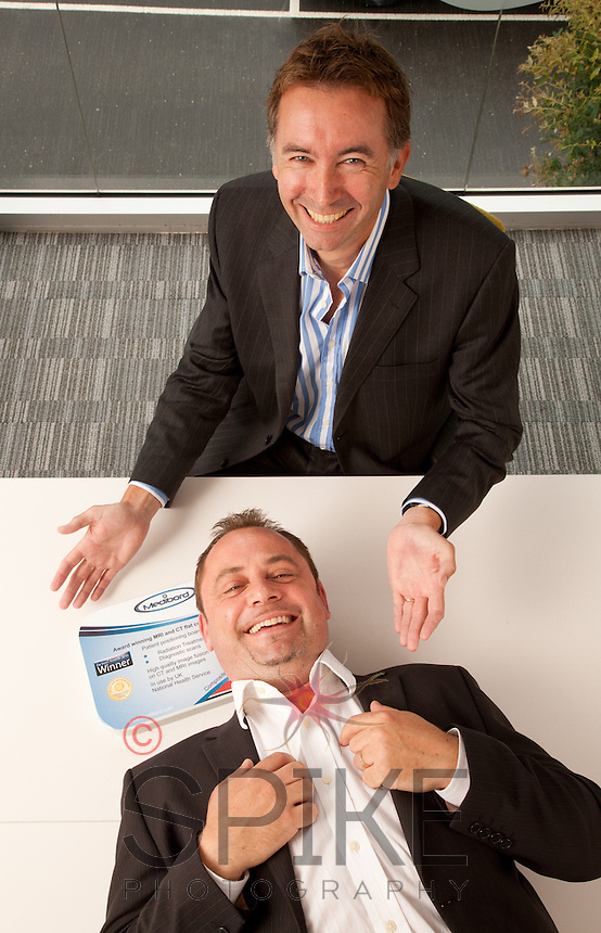 Jonathan Richards (lying down) CEO of Medibord, with Glenn Crocker, chief executive of BioCity