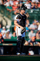 Baltimore Orioles catcher Andrew Susac (27) during a Grapefruit League Spring Training game against the Detroit Tigers on March 3, 2019 at Ed Smith Stadium in Sarasota, Florida.  Baltimore defeated Detroit 7-5.  (Mike Janes/Four Seam Images)