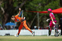 24th November 2019; Lilac Hill Park, Perth, Western Australia, Australia; Womens Big Bash League Cricket, Perth Scorchers versus Sydney Sixers; Kim Garth of the Perth Scorchers bowls during her second spell - Editorial Use