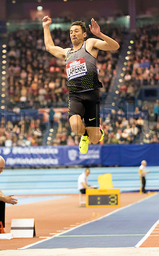 February 18th 2017,  Birmingham, Midlands, England; IAAF The Müller Indoor Grand Prix Athletics meeting; Fabrice Lapierre (AUS) competing in the final of the Men's Long Jump; Current IAAF Indoor Oceania Record Holder