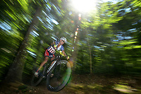 NWA Democrat-Gazette/BEN GOFF @NWABENGOFF<br /> Rick Sederberg of Batesville races in the Category 1 men 60 and older division Sunday, June 11, 2017, during the Battle for Townsend's Ridge mountain bike race at Hobbs State Park - Conservation Area near Rogers. The cross country race, presented by Ozark Off Road Cyclists, is part of the Arkansas Mountain Bike Championship Series. This year entry fees for racers 14 and younger were covered by Ozark Off Road Cyclists.