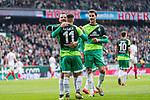 10.02.2019, Weserstadion, Bremen, GER, 1.FBL, Werder Bremen vs FC Augsburg<br /> <br /> DFL REGULATIONS PROHIBIT ANY USE OF PHOTOGRAPHS AS IMAGE SEQUENCES AND/OR QUASI-VIDEO.<br /> <br /> im Bild / picture shows<br /> Milot Rashica (Werder Bremen #11) bejubelt seinen Treffer zum 3:0 mit Philipp Bargfrede (Werder Bremen #44) und Sebastian Langkamp (Werder Bremen #15), <br /> <br /> Foto &copy; nordphoto / Ewert