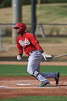 Cincinnati Reds Raul Wallace (47) during an instructional league game against the Los Angeles Dodgers on October 20, 2015 at Cameblack Ranch in Glendale, Arizona.  (Mike Janes/Four Seam Images)