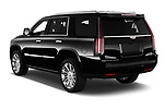 Car pictures of rear three quarter view of 2019 Cadillac Escalade Platinum 5 Door SUV Angular Rear