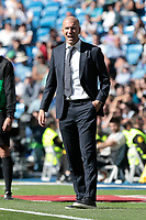 Real Madrid&rsquo;s coach Zinedine Zidane during La Liga match between Real Madrid and Villarreal CF at Santiago Bernabeu Stadium in Madrid, Spain. May 05, 2019. (ALTERPHOTOS/A. Perez Meca)<br /> Liga Campionato Spagna 2018/2019<br /> Foto Alterphotos / Insidefoto <br /> ITALY ONLY