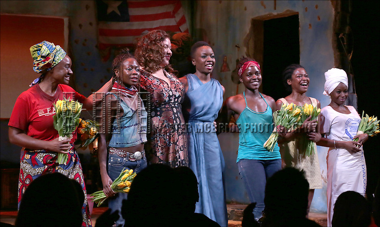 Saycon Sengbloh, Zainab Jah, Liesl Tommy, Danai Gurira, Lupita Nyong'o, Pascale Armand, Akosua Busia onstage during the 'Eclipsed' broadway opening night curtain call at The Golden Theatre on March 6, 2016 in New York City.